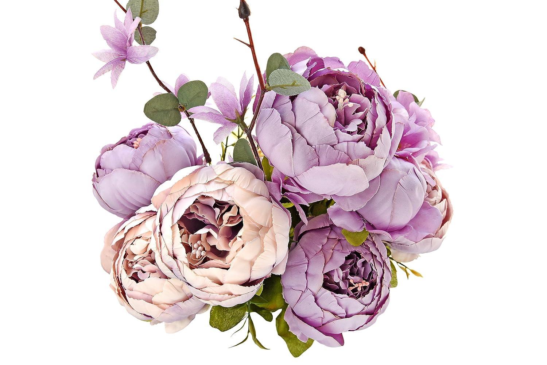 FiveSeasonStuff Grande Bouquet di di Seta Peony e Ortensie Artificiale Fiori Stile Europeo, Ideale per Matrimoni, Sposa, Partito, Casa, Studio Décor Fai da te (Bianca)