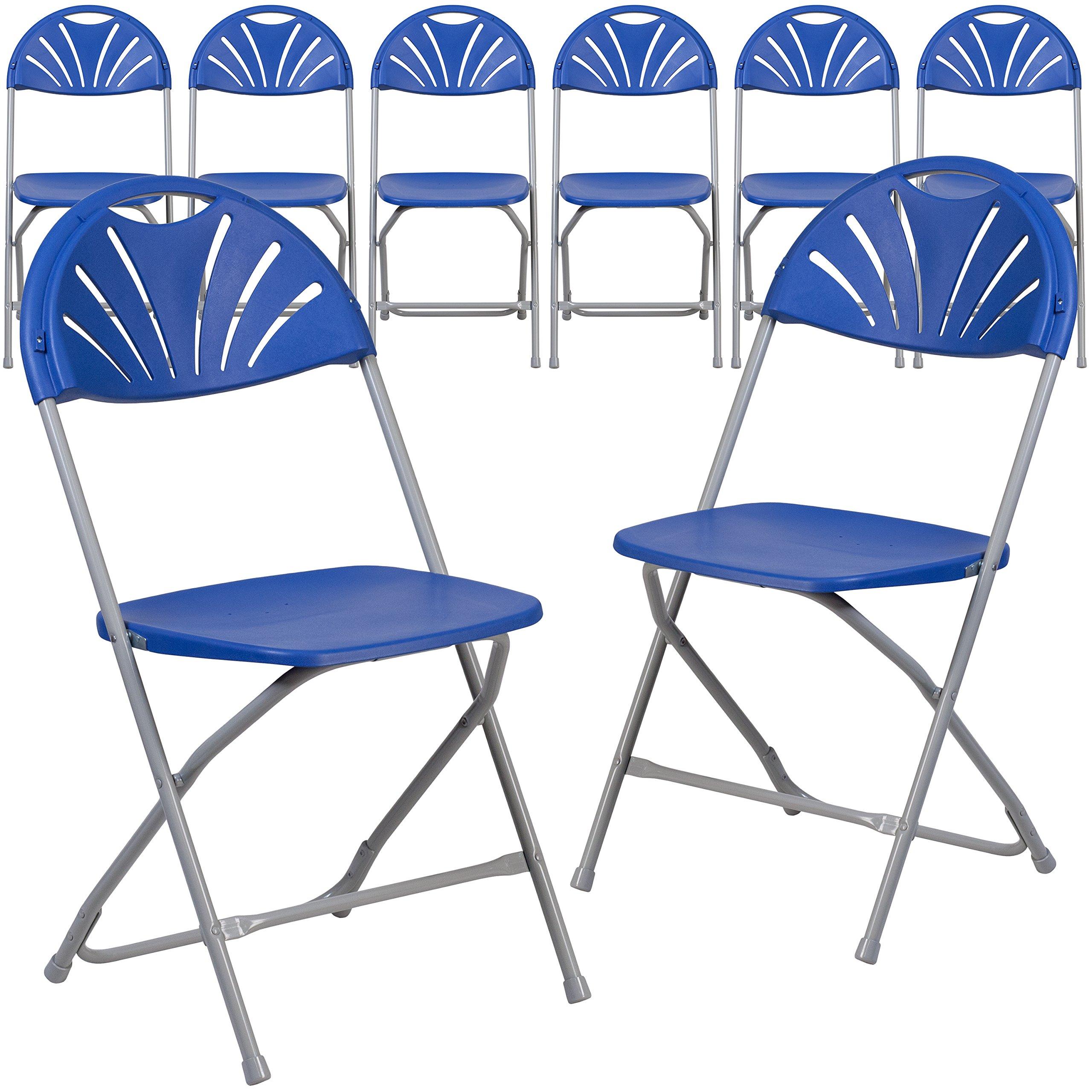 Flash Furniture 8 Pk. HERCULES Series 650 lb. Capacity Blue Plastic Fan Back Folding Chair by Flash Furniture