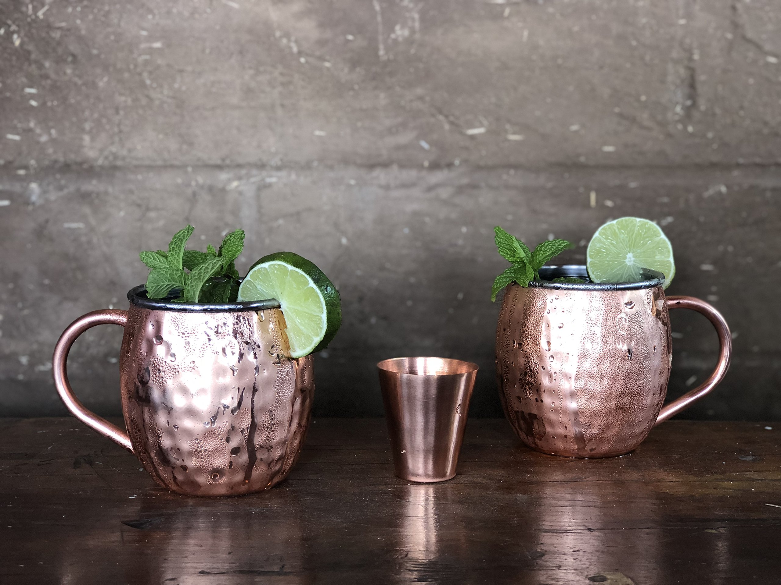 Set of 2 Moscow Mule Copper Mugs with Stainless-Steel Lining | Set of 2 Moscow Mule Mugs with Copper Shot Glass | Set of 2 Mule Mugs Lined with Stainless-Steel, Mint Julep Mugs for Home Bar by Urban Vintage LA (Image #3)