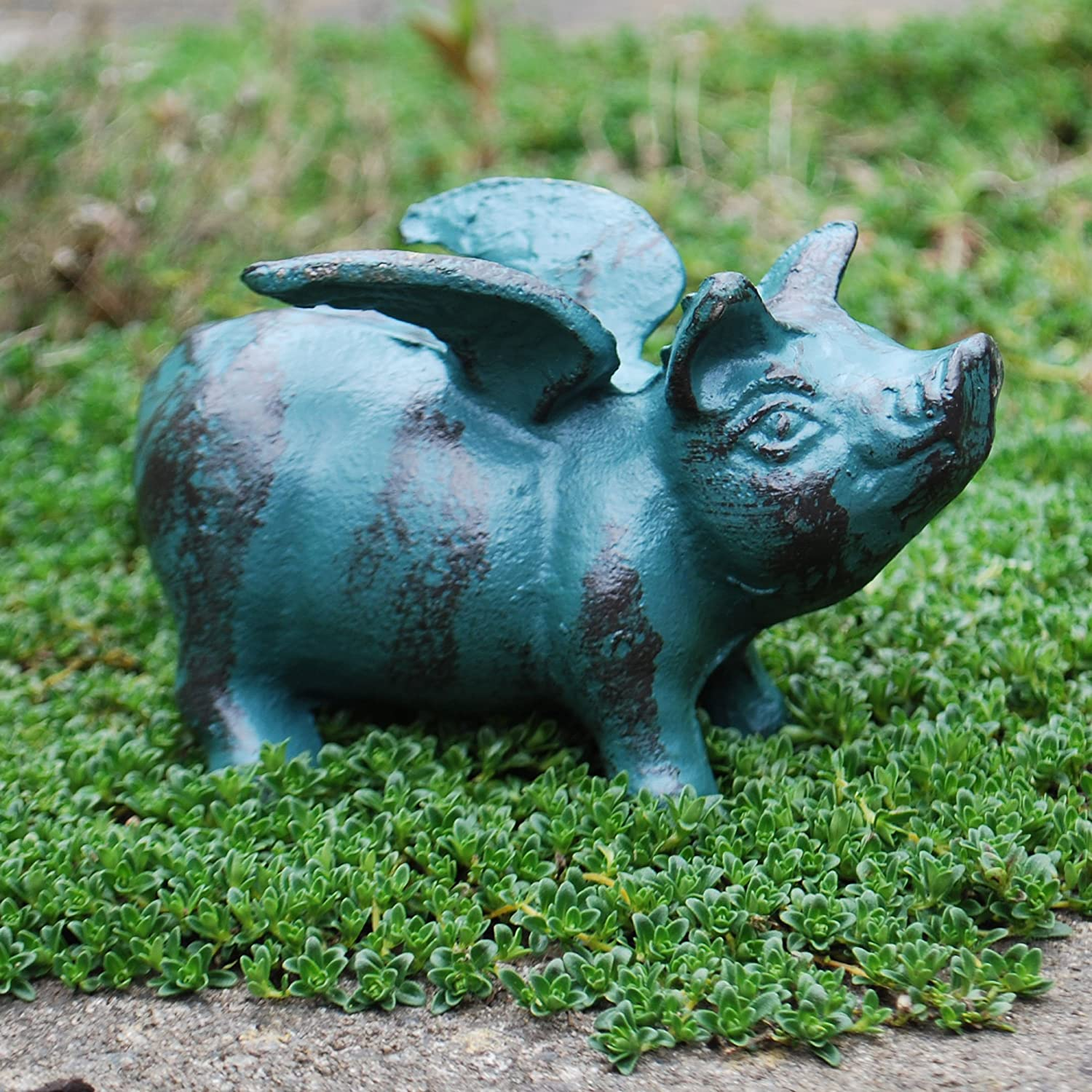 Pig lawn ornament - Verdigris Flying Pig Cast Iron Garden Animal Ornament Amazon Co Uk Garden Outdoors