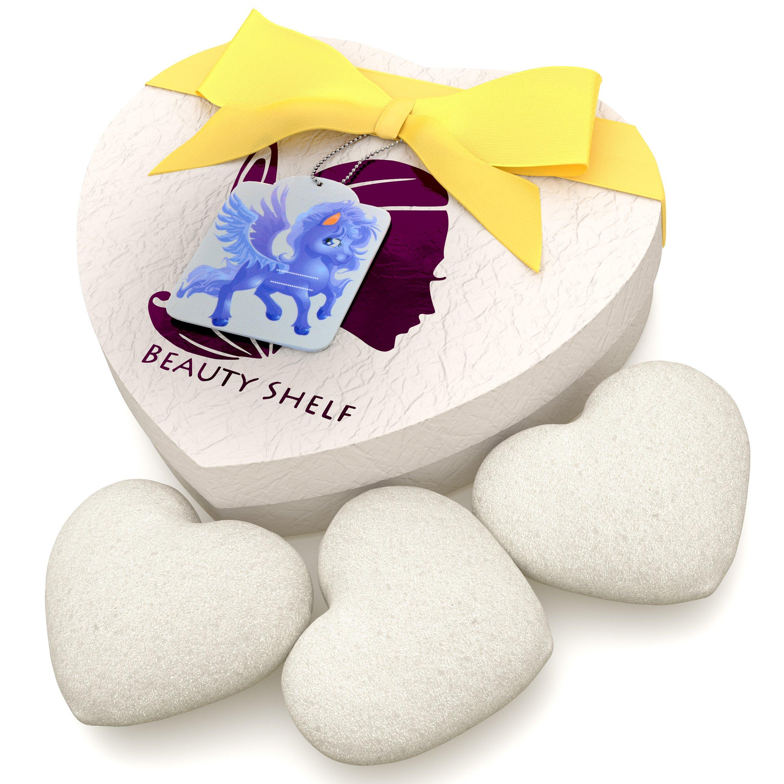 Konjac Sponge (3 Pack) - Natural White Sponges for Babies and Sensitive Facial Skin