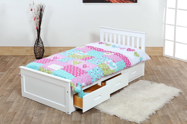 White Single Bed Uk Part - 22: 3ft Single Captain Cabin Storage Solid Pine Wooden Bed Bedframe - White  Finish: Amazon.co.uk: Kitchen U0026 Home