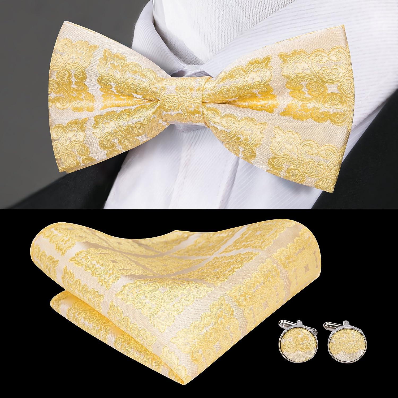 Barry.Wang Conjunto de pajarita amarilla y pañuelo de bolsillo ...