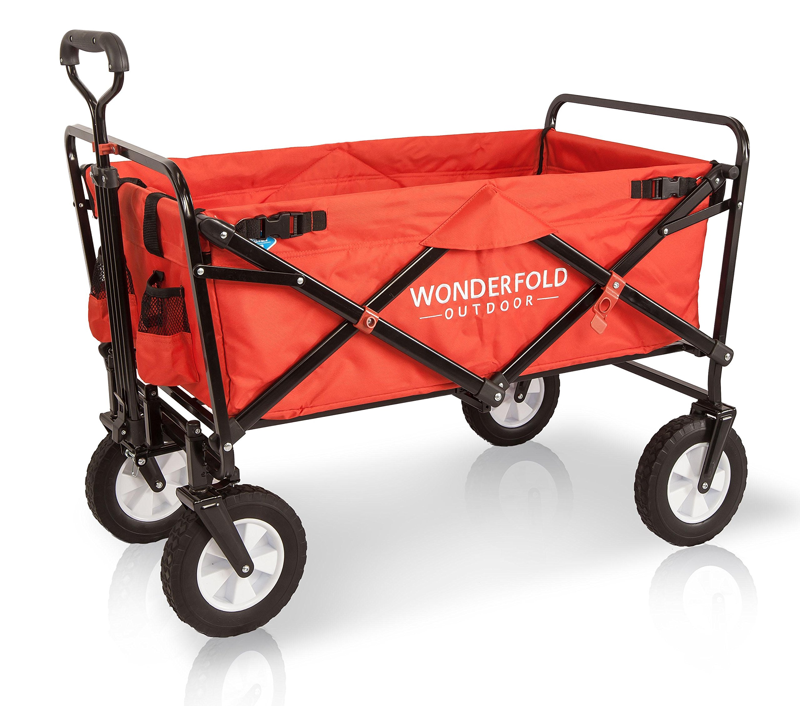 Wonder Fold Outdoor Next Generation Utility Folding Wagon with Removable Polyester Bag, Spring Bounce Feature, Auto Safety Locks, 180 Degree Steering Telescoping Handle Performance, Scarlet Red by WonderFold Outdoor (Image #2)