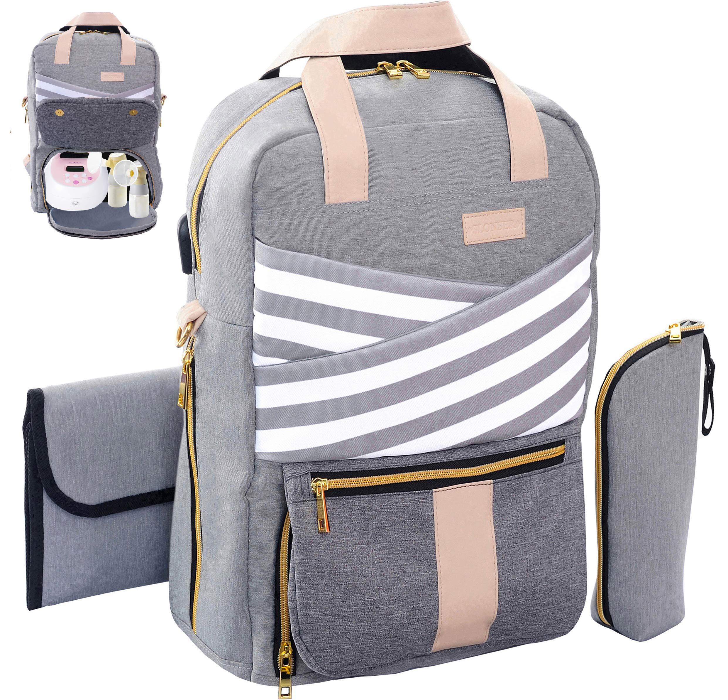 Breast Pump Backpack – Pumping Tote Bag for Travel – Large Capacity Convertible Diaper Backpack – Fits Most Major Pumps Including Spectra – Changing Pad | USB Charging Port | Pocket for Laptop – Gray