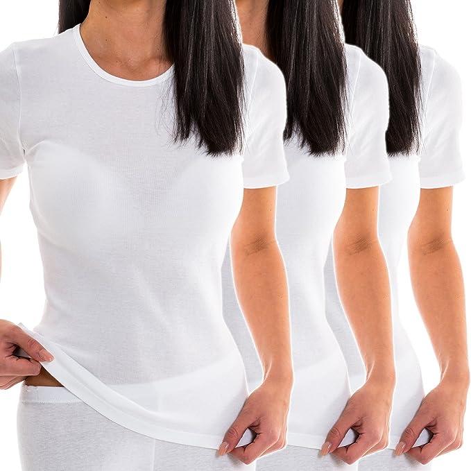 HERMKO 1800 Kit de 3 Camisetas Interiores Manga Corta para Mujer ...