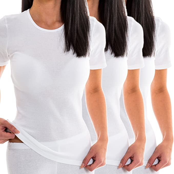 2 Pack HERMKO 17880 Womens short-sleeve shirts with V-Neck