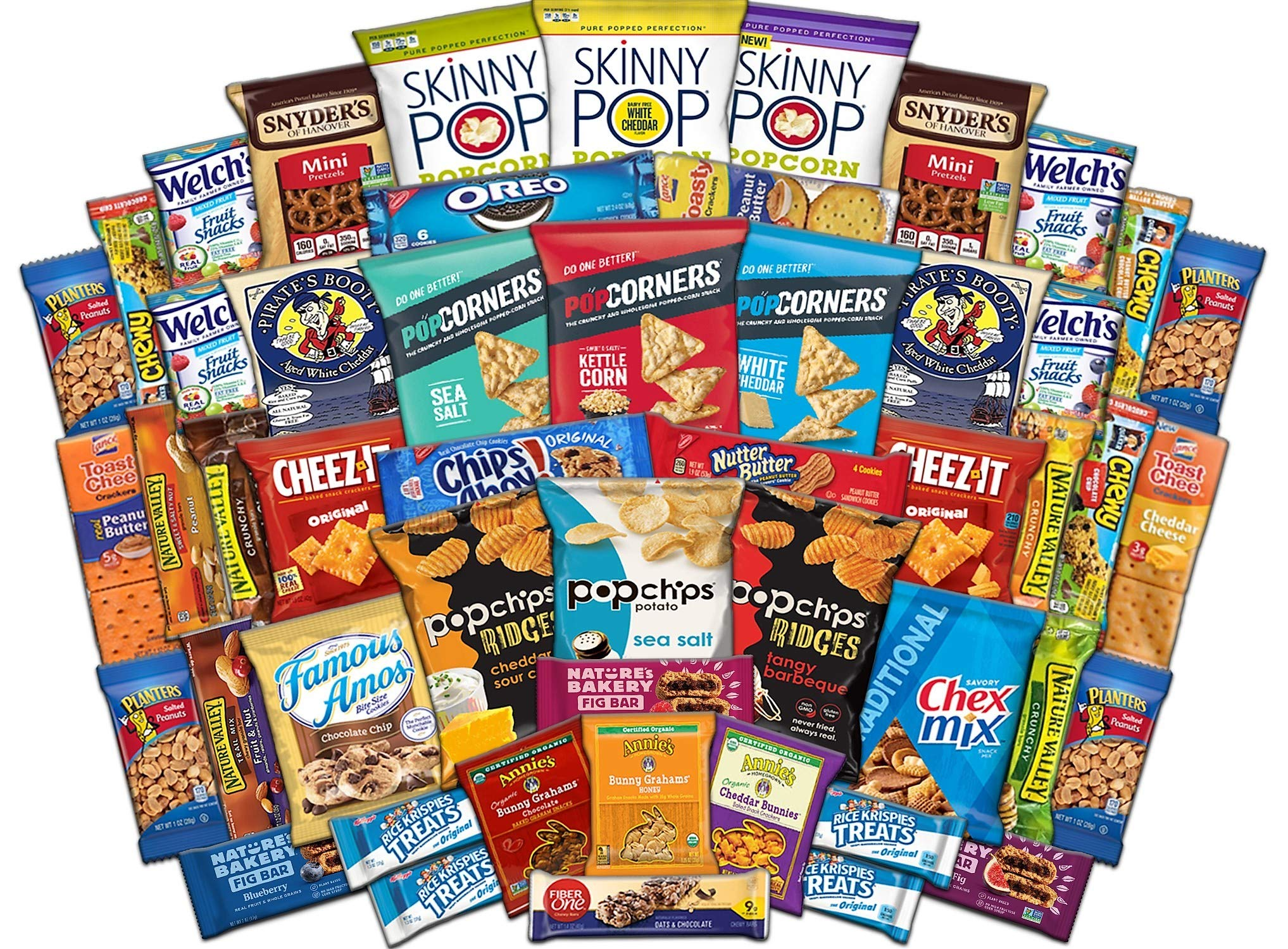Ultimate Snack Assortment Care Package - Chips, Crackers, Cookies, Nuts, Bars - School, Work, Military or Home (50 Pack)