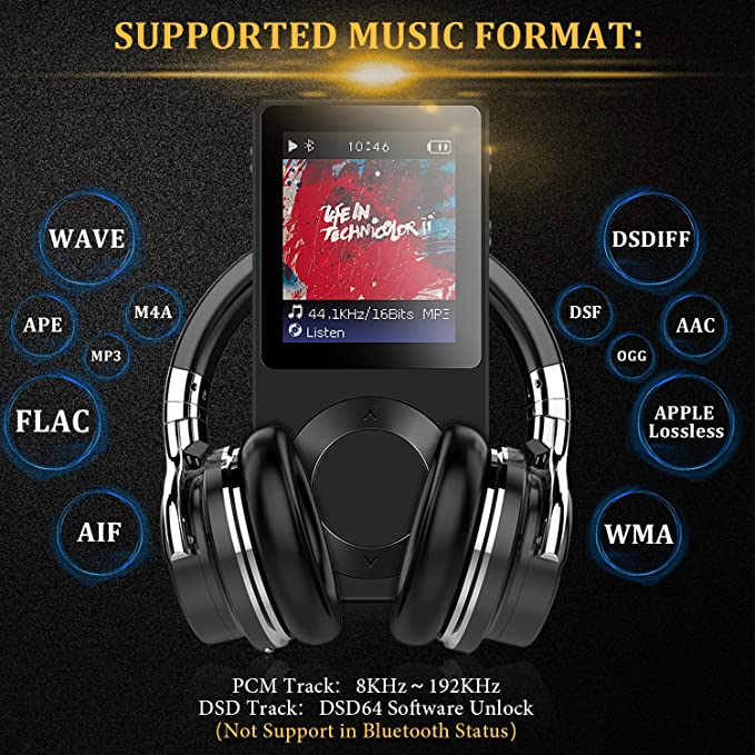 AGPTEK HiFi Bluetooth MP3 Player Rocker V2 High Resolution Digital Audio  Player with Gapless Playback for Audiophile, Compatible with Rockbox  Supports