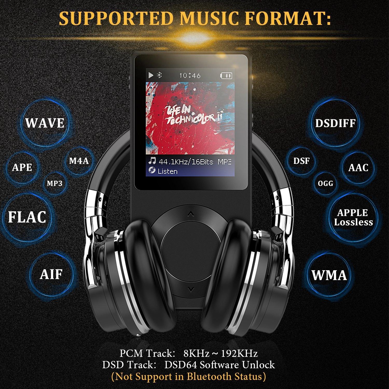 AGPTEK Bluetooth MP3 Player ROCKER V2 High Resolution Digital Audio Player,  Supports up to 256GB, Black
