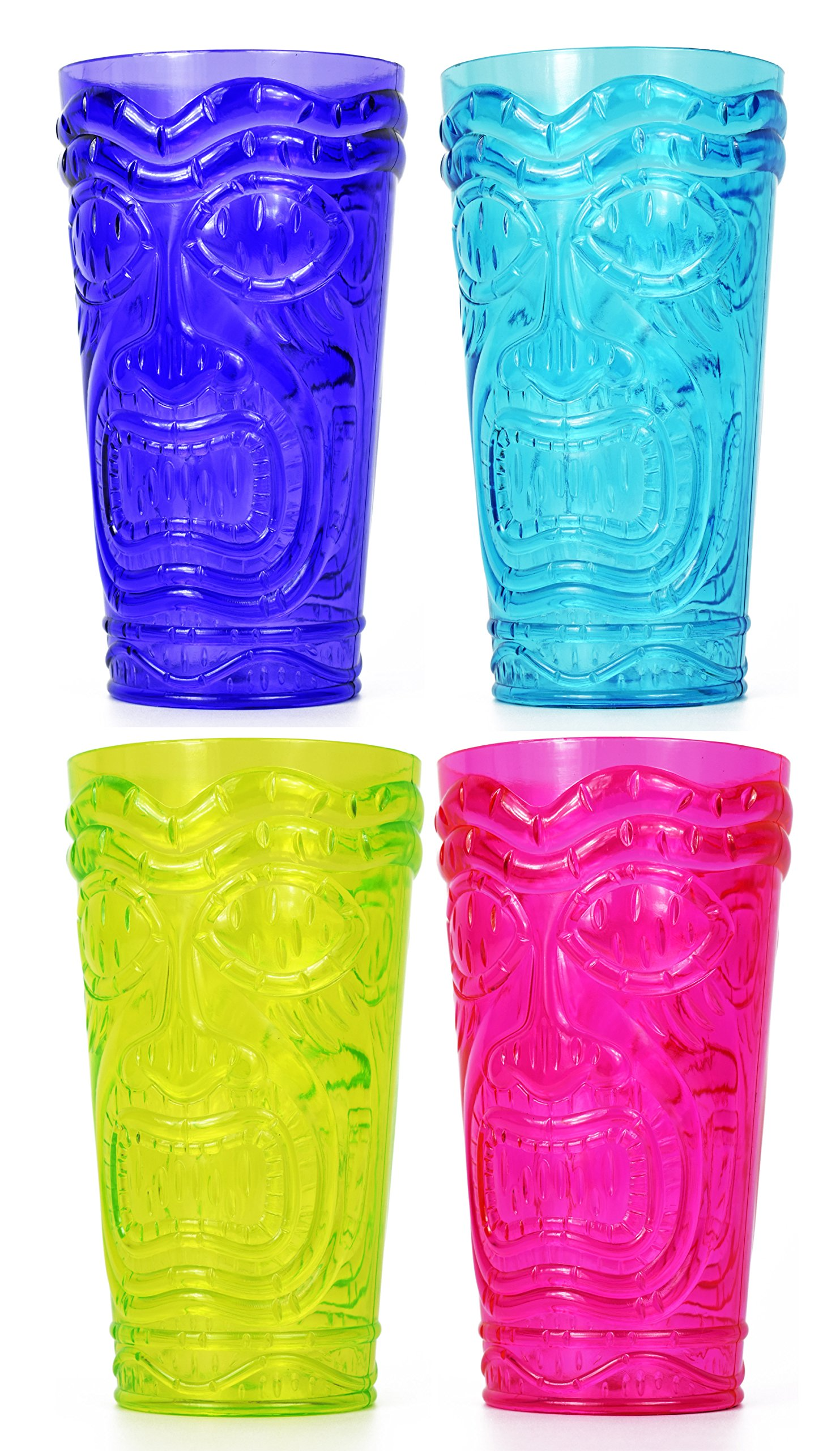 Set of 4 Party Tiki Cups! BPA Free 16 Ounce Tumbler Drinkware Set Luau Shape! 4 Bright Colors! Tiki Mugs! Reusable Plastic Party Cups!