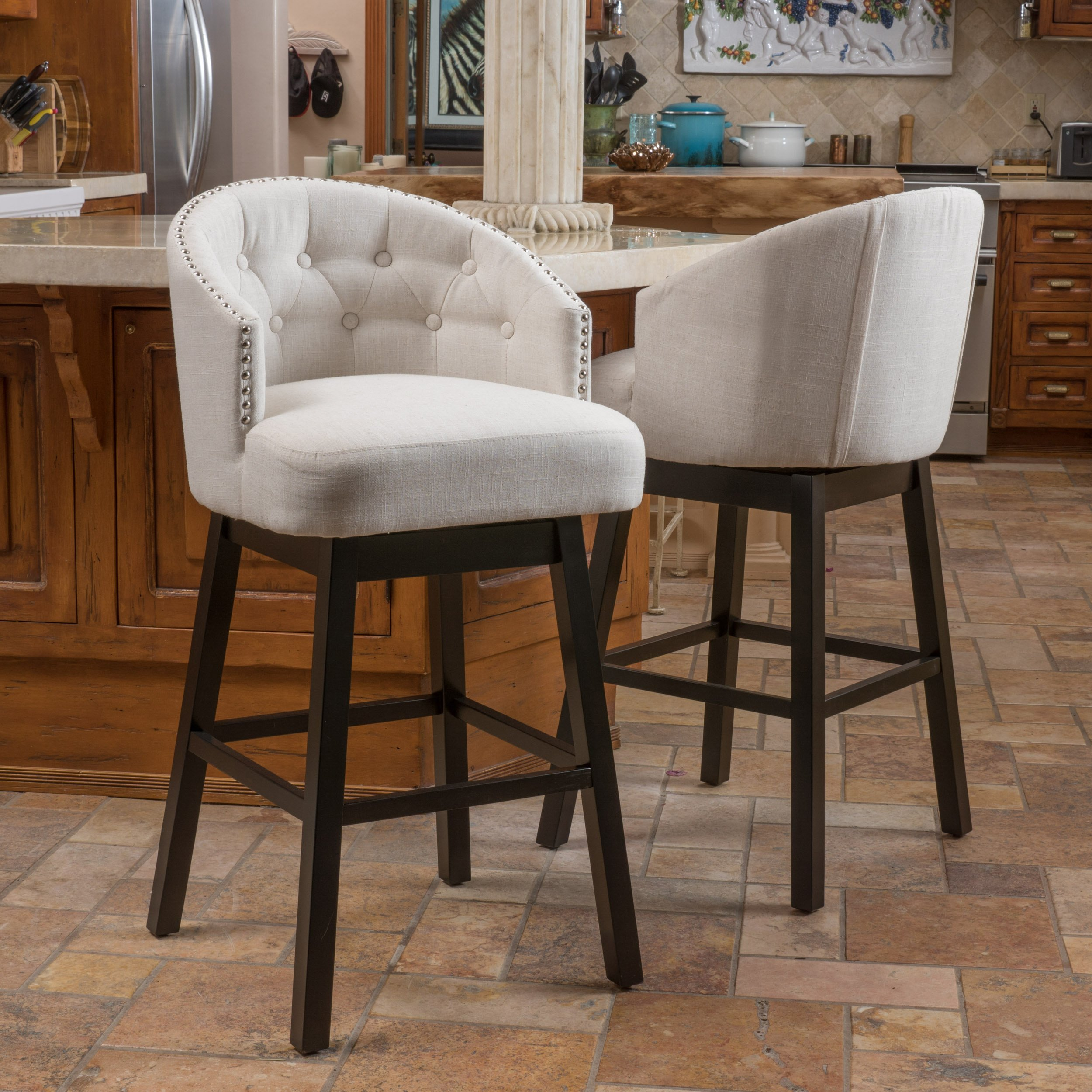 Westman Swivel Bar Stools | Full Backed | Button Tufted | Fabric in Beige (Set of 2)