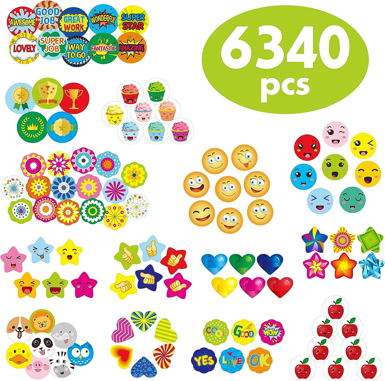 "6340 pcs Teacher Reward Encouragement Motivational Sticker Mega Pack in 12 Themes (Each Measures 1/2""-3/4"" in Diameter)"