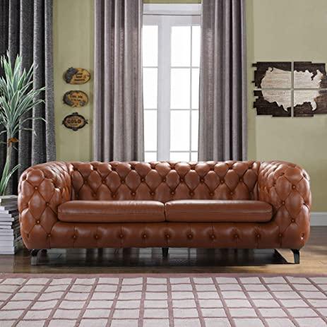Modern Real Leather Tufted Chesterfield Sofa Couch With Built In Shelving  Space (Camel)