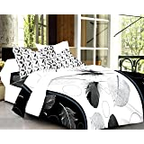 Ahmedabad Cotton Mix n Match 160 TC Cotton Double Bedsheet with 2 Pillow Covers - White and Black