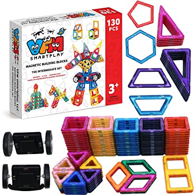 130 PCS Magnetic Building Blocks - Magnetic Tiles Toys With Strong Magnets For Kids Toddlers Babies - Creativity beyond Imagination by VFM Smartplay
