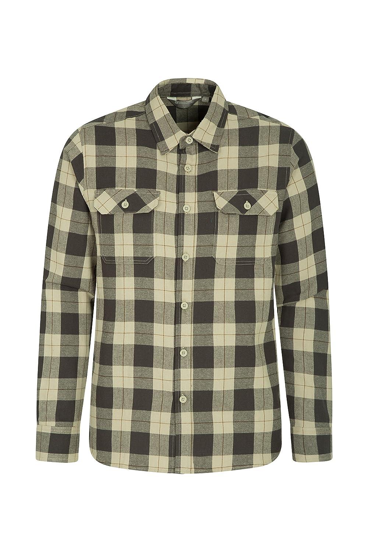 TALLA S. Mountain Warehouse Camisa de Franela de Manga Larga Trace para Hombre