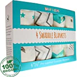 4 Swaddle Blankets by Baby Steps - 100% Organic Hypoallergenic Muslin Cotton for Plush, Warm Comfort – Infant and Newborn Wrap – Machine Washable - Perfect Baby Shower Present - Special Gifts Pack