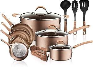NutriChef 14-Piece Nonstick Cookware PTFE/PFOA/PFOS-Free Heat Resistant Lacquer Kitchen Ware Set w/Saucepan, Frying Pans, Cooking, Dutch Oven Pot, Lids, Utensil NCCW14S