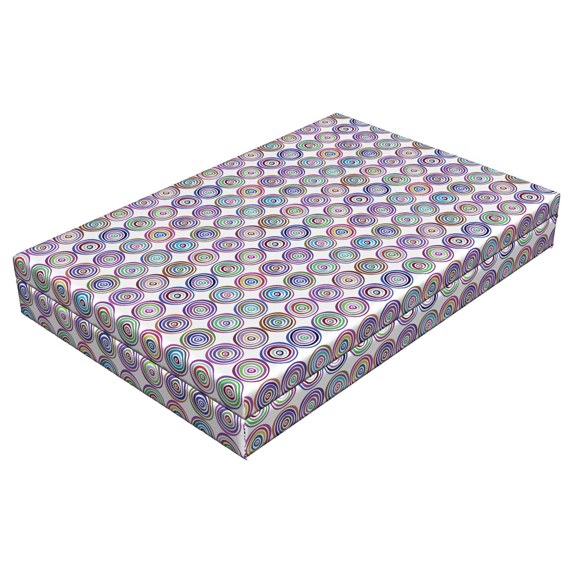 Lunarable Retro Modern Dog Bed, Optical Illusion Themed Hypnotic Bull's Eye Design Pastel Colored Circles, Durable Washable Mat with Decorative Fabric Cover, 48'' x 32'' x 6'', Multicolor