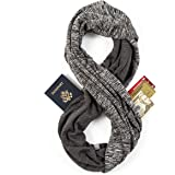 Travel Scarf - Infinity Scarf With Zipper Pocket & Customizable Snaps - Lightweight Scarf for Women