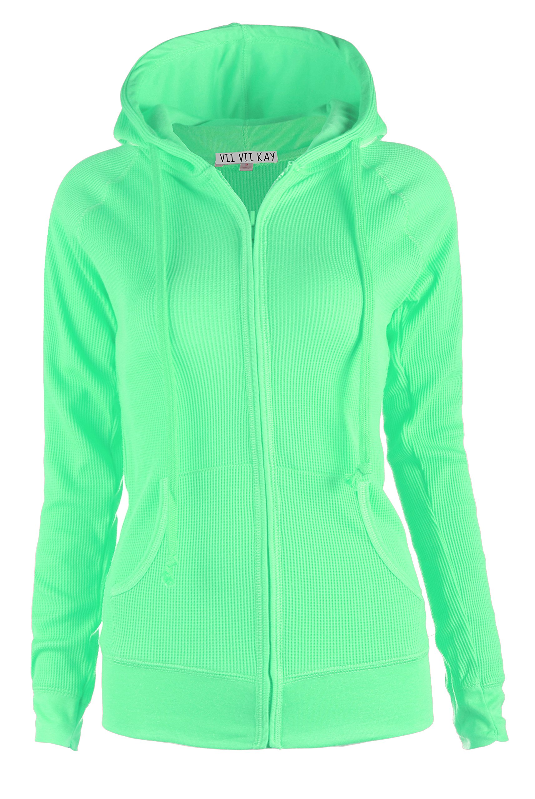 ViiViiKay Womens Casual Plain or Thermal Knitted Solid Zip-Up Hoodie Jacket  MINT M Apparel add1383d3