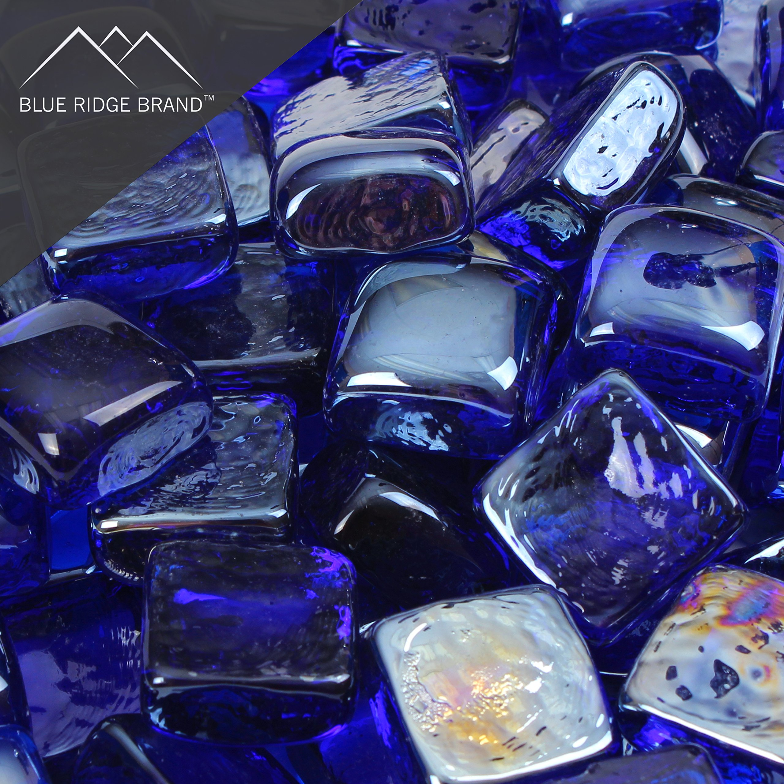 Blue Ridge Brand™ Dark Blue Reflective Fire Glass Cubes - 50-Pound Professional Grade Fire Pit Glass - 3/4'' Reflective Fire Glass Bulk Pack - Glass Rock Contractor Pack