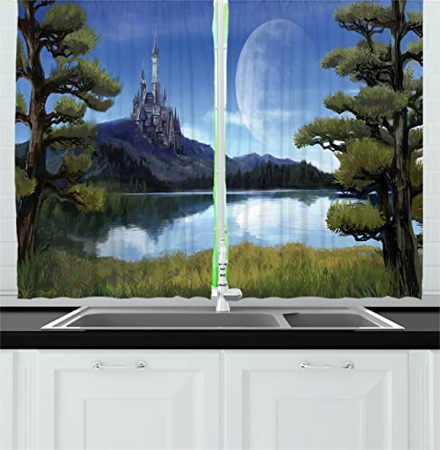 Ambesonne Fantasy Kitchen Curtains, Moon Surreal Scene with Riverside Lake Forest and Medieval Castle on Hill Art, Window Drapes 2 Panel Set for Kitchen Cafe Decor, 55 X 39 , Green and Blue