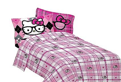 SANRIO Hello Kitty I Heart Nerd Microfiber Sheet Set, Twin