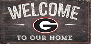 "Fan Creations NCAA Georgia Bulldogs 12"" x 6"" Distressed Welcome to Our Home Wood Sign"