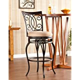 """Southern Enterprises Maguire Swivel 44"""" Barstool, Dark Champagne Frame with Rich Walnut Backrest Finish and Acorn Seat"""
