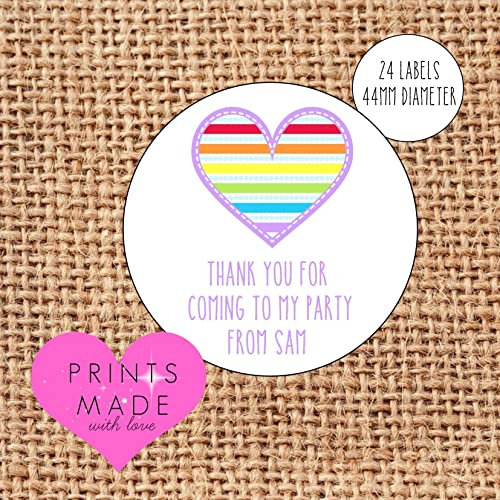 personalised rainbow party bag stickers thank you for coming 24