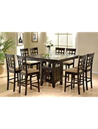 coaster home furnishings 9 piece counter height storage dining table wlazy susan u0026 chair
