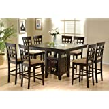 Coaster Home Furnishings 9 Piece Counter Height Storage Dining Table w/Lazy Susan & Chair Set