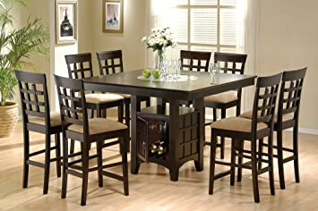 dining room table set. Amazon Com  Coaster Home Furnishings 9 Piece Counter Height Storage Dining Table W Lazy Susan Chair Set Sets