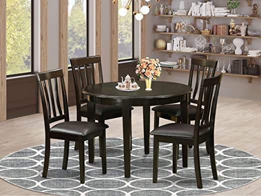Amazon Com East West Furniture 5 Pieces Small Dining Table Set Pu Leather Kitchen Chairs Cappuccino Finish Hardwood 4 Legs Table And Frame Furniture Decor