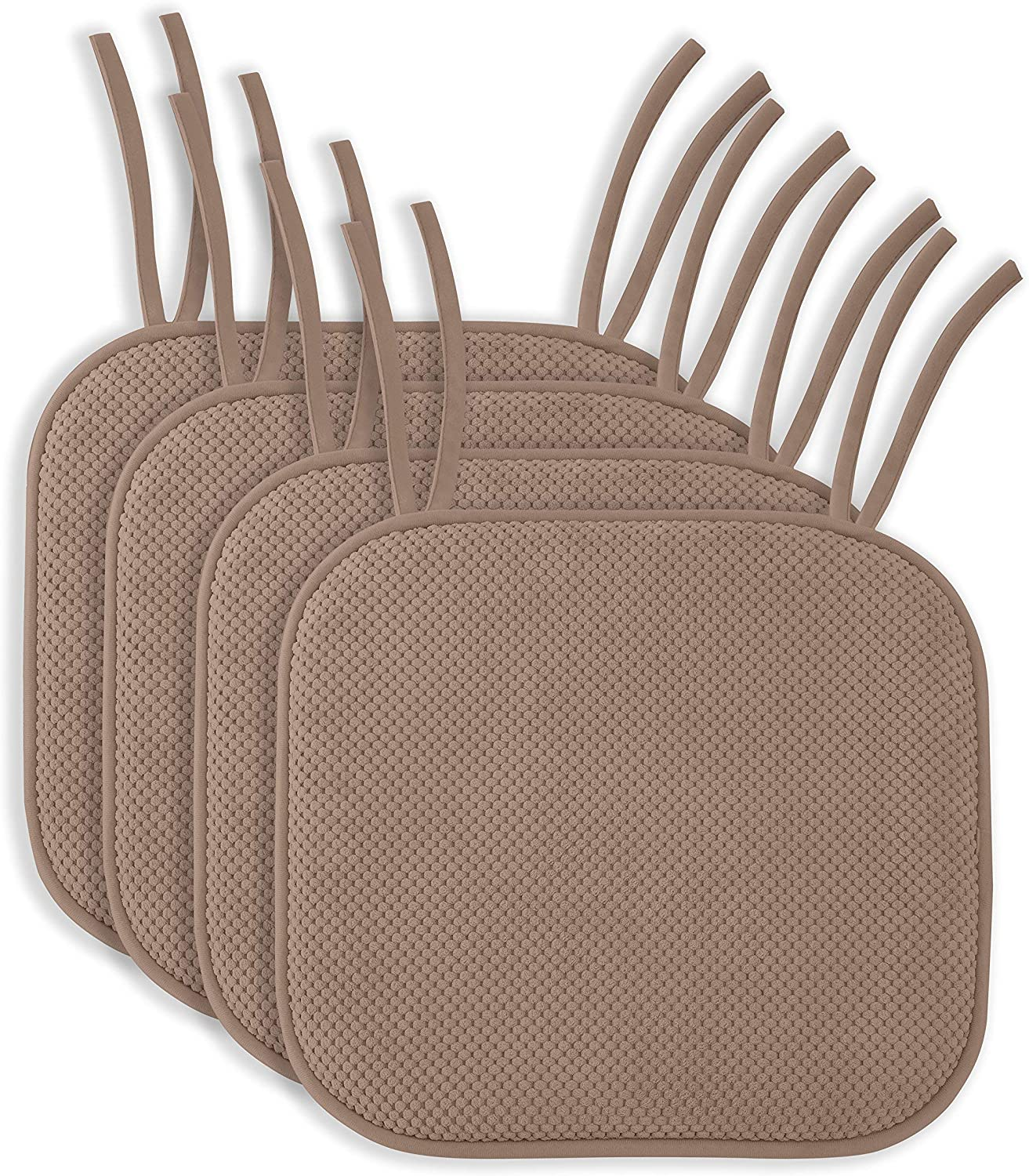 "4 Pack: Ellington Home Non Slip Memory Foam Seat Cushion Chair Pads With Ties - 17"" x 16"" - Taupe"