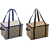 Earthwise Large Insulated Collapsible Reusable Box Shopping Grocery Bag w/zipper top (2 Pack)