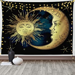 Ambesonne Psychedelic Tapestry, Moon and Sun in Antique Style Lunar Myth Astrology Art Print, Fabric Wall Hanging Decor for Bedroom Living Room Dorm, 90