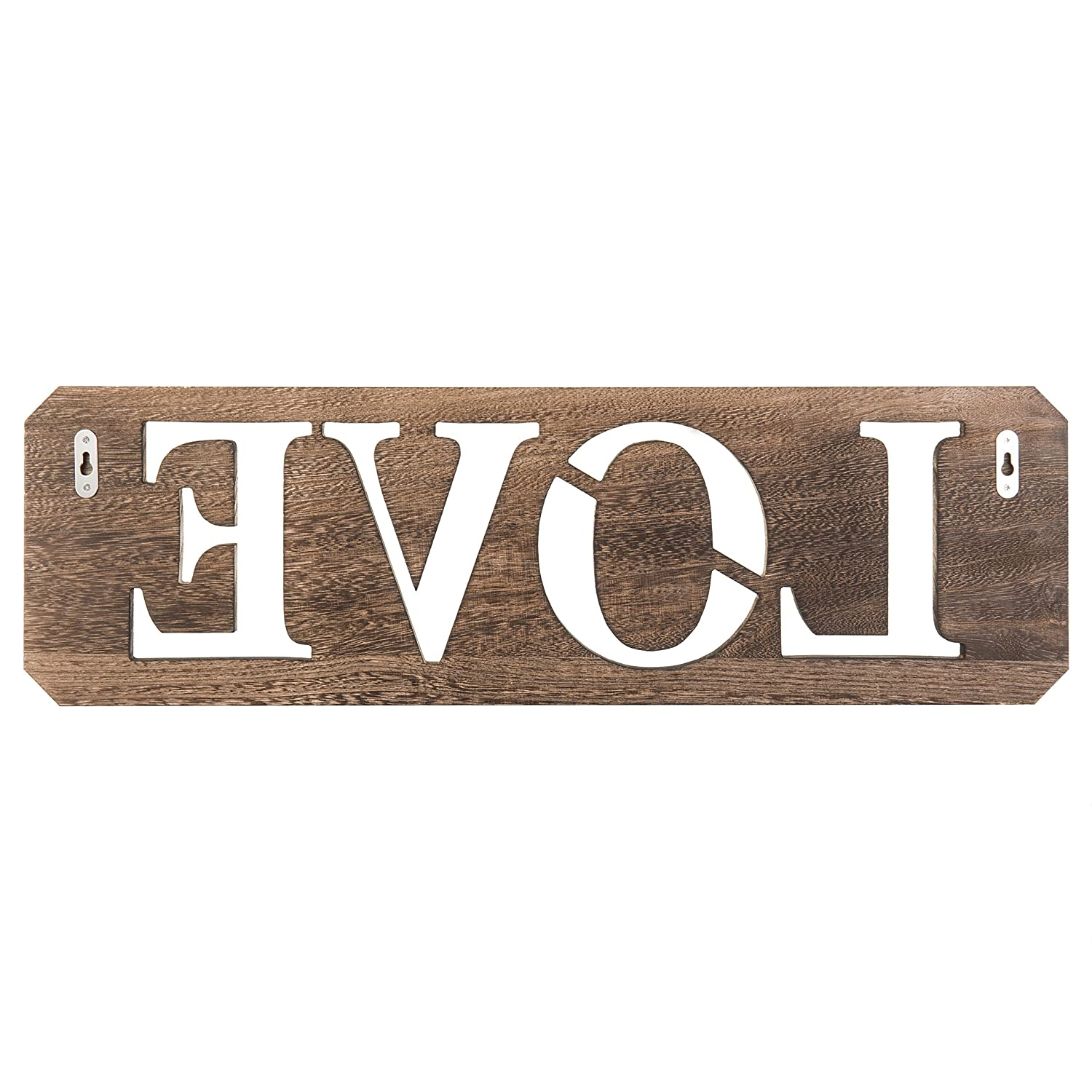 MyGift 24-inch Rustic Wall-Mounted Wood Cutout Love Sign Hanging Wall Art Decor