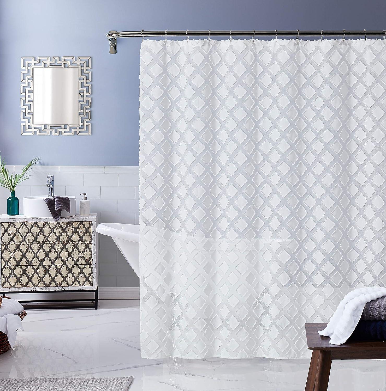 Dainty Home Katie Shower Curtain Set, White