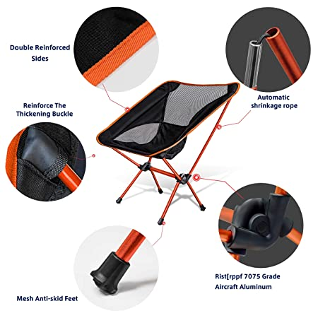 WDLHQC Portable Folding Camping Chair,Ultralight and Lightweight Compact Backpacking Chairs with Carry Bag for Camping,Beach,Fishing,Hiking Outdoor Festivals