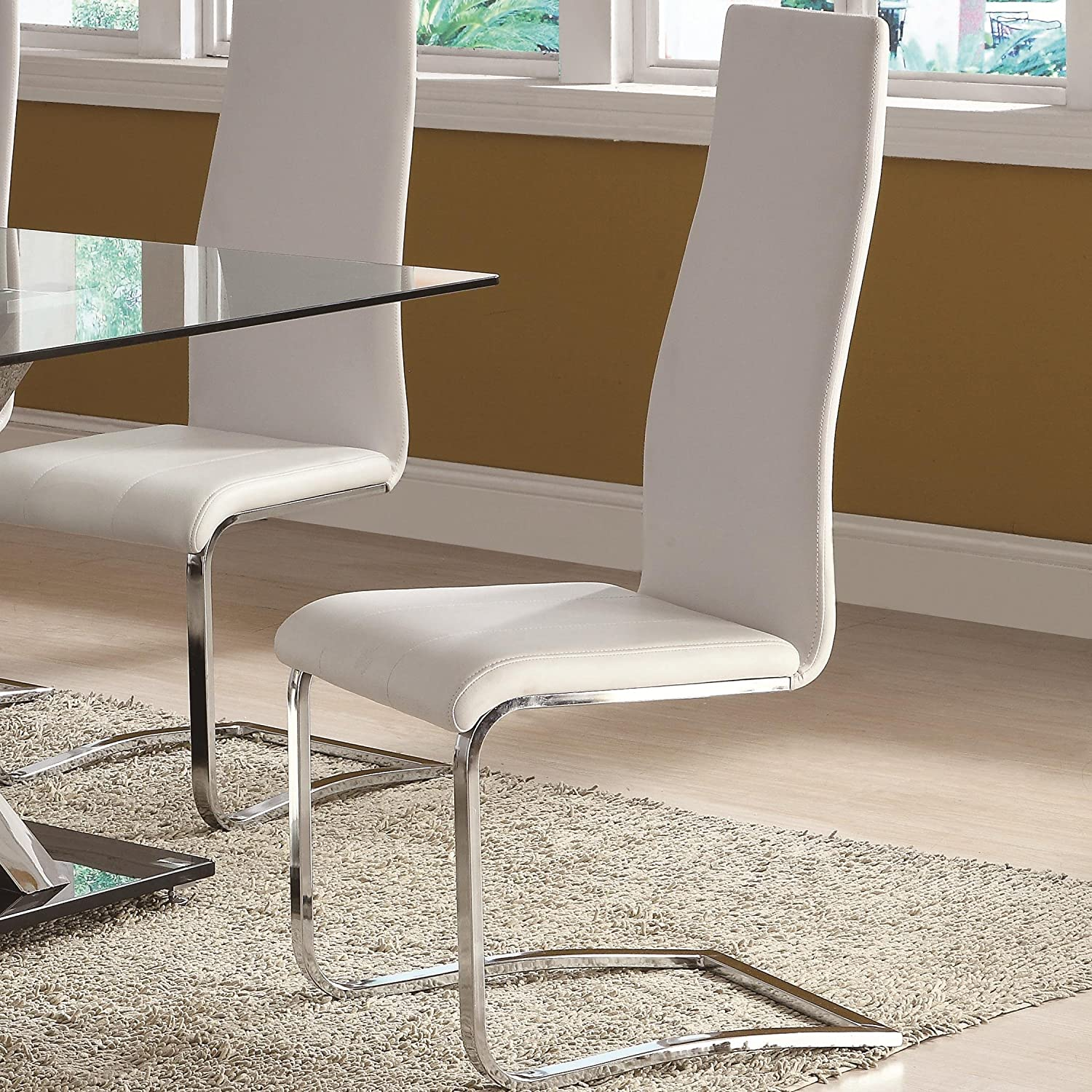 Amazon White Faux Leather Dining Chairs with Chrome Legs Set