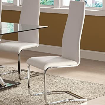Amazoncom White Faux Leather Dining Chairs with Chrome Legs