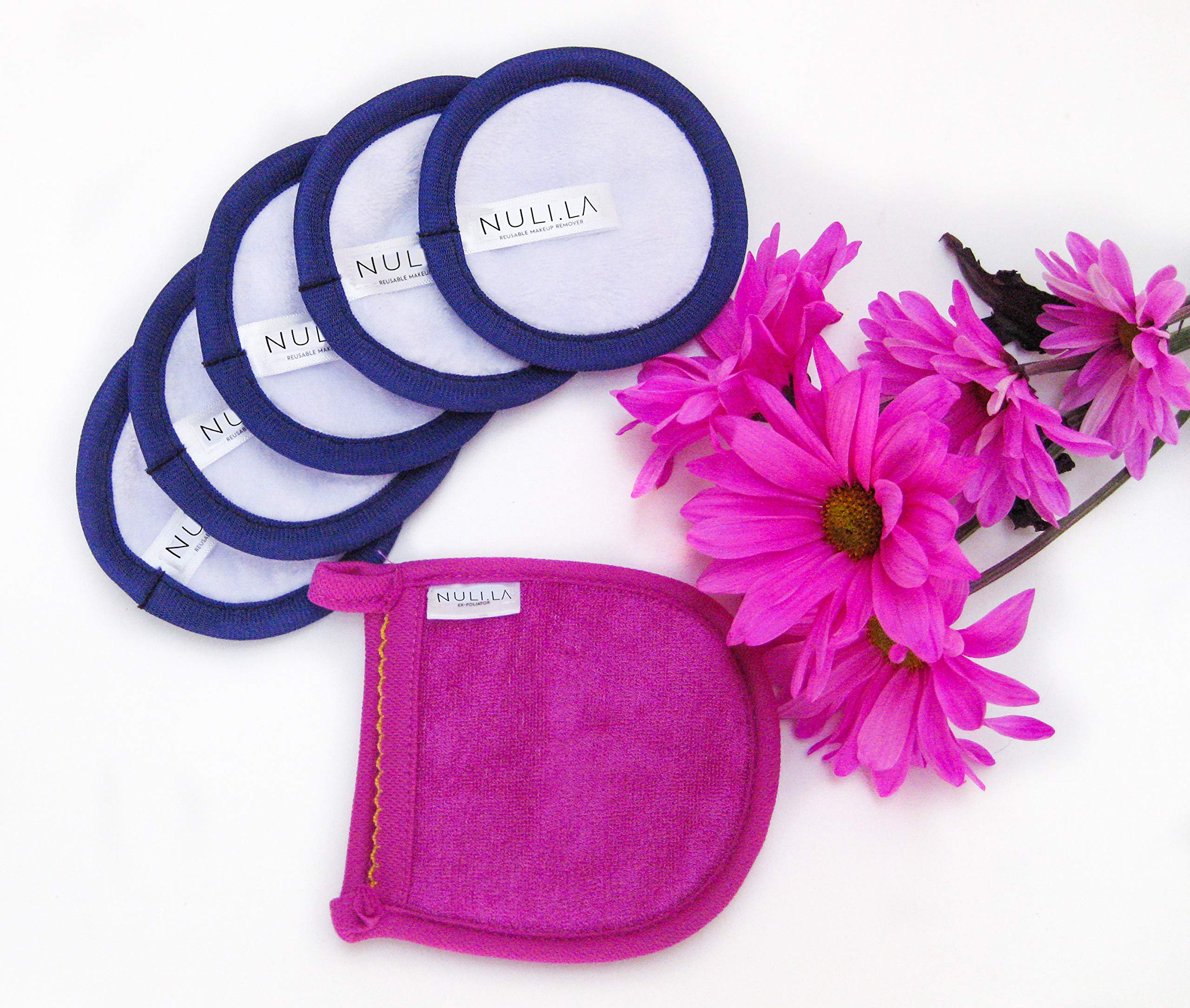 Just Add Water! Reusable Makeup Remover Cloth Pads 5 Pack + 1 Bamboo Exfoliator Mitten, Premium Microfiber Pads Machine Washable up to 1000 Times by NULI LA