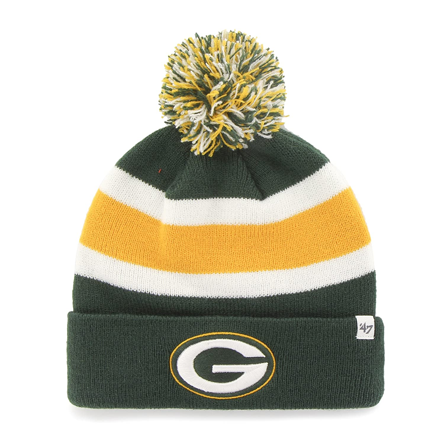 2d390333ce3bc3 Amazon.com : '47 Green Bay Packers Green Cuff Breakaway Beanie Hat with Pom  - NFL Cuffed Winter Knit Toque Cap : Clothing