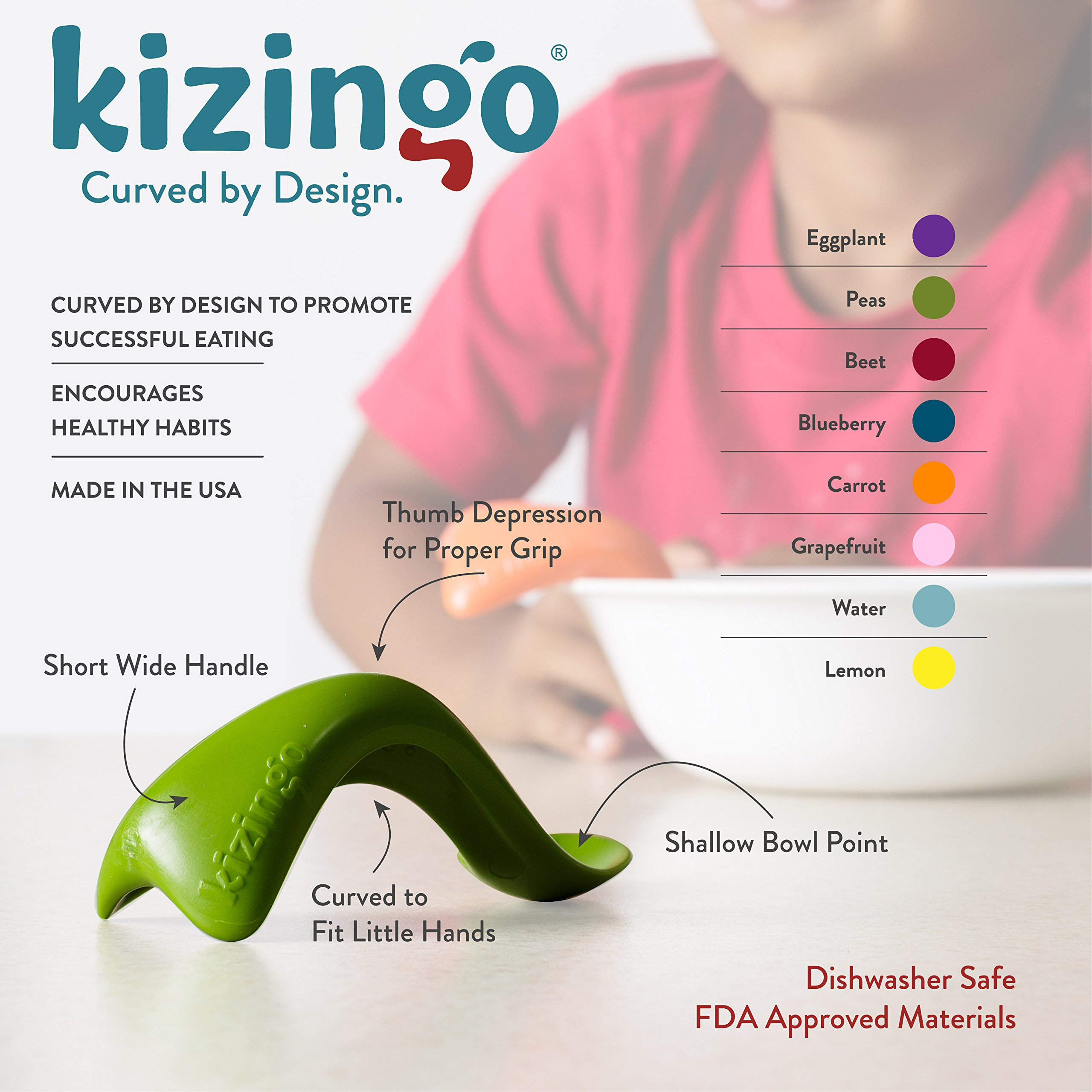 Kizingo Toddler Spoon - Curved Self-Feeding Learner Spoon for Toddler Development (Right Hand, Green and Orange) by Kizingo (Image #3)