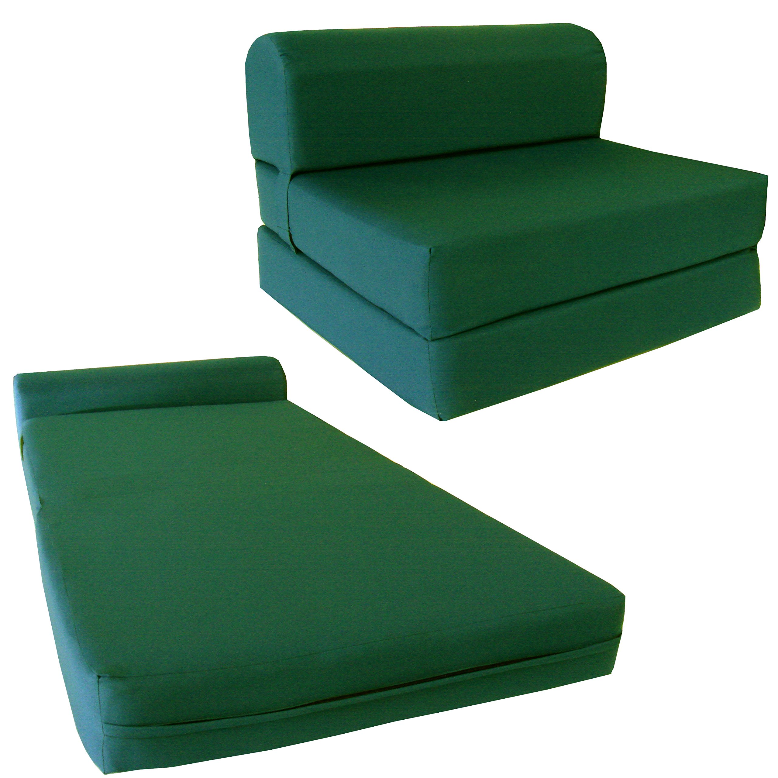 Chair Folding Foam Bed, Studio Sofa Guest Folded Foam Mattress (6'' x 32'' x 70'', Hunter Green) by D&D Futon Furniture.