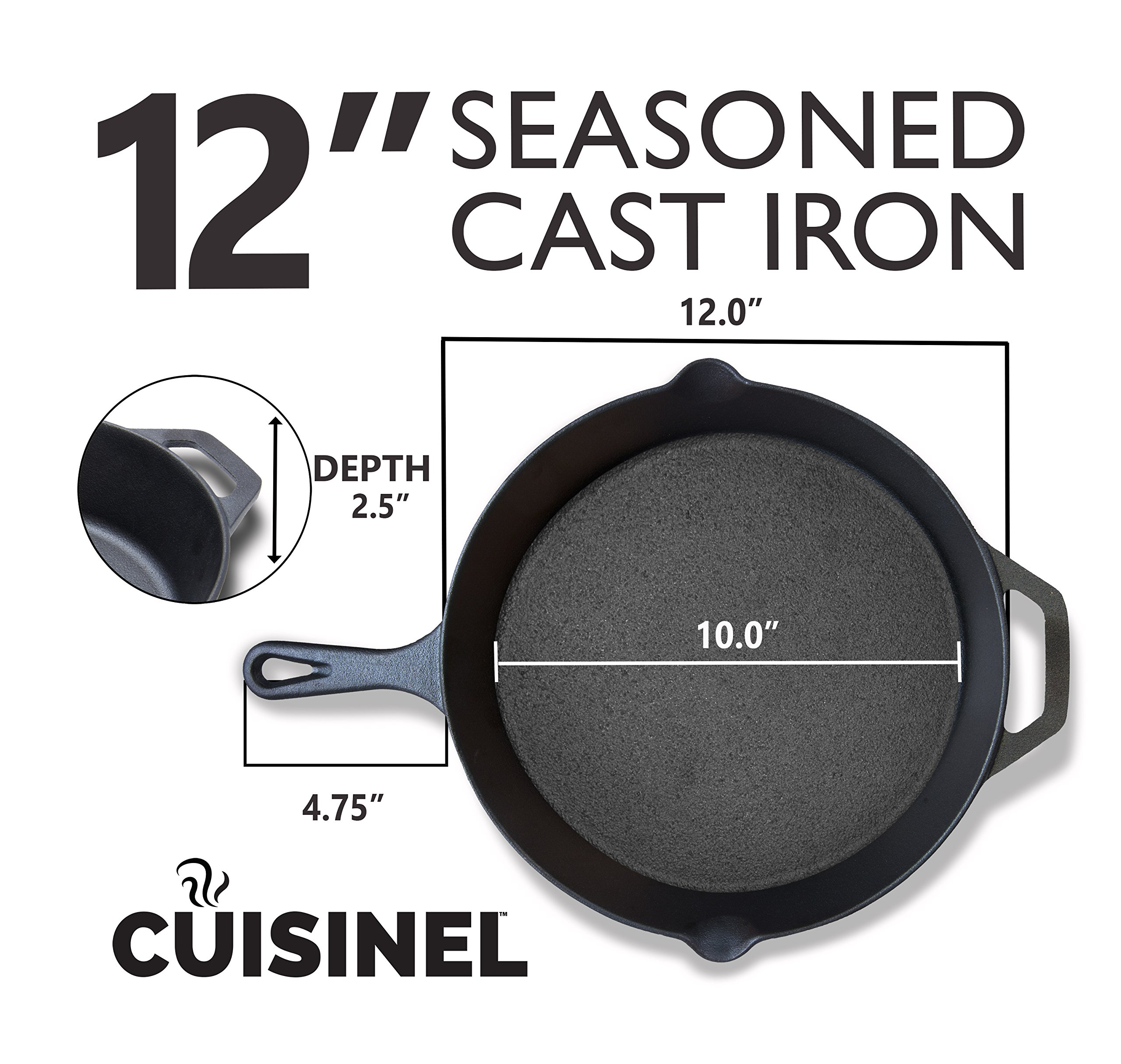 Pre-Seasoned Cast Iron Skillet 2-Piece Set (10-Inch and 12-Inch) Oven Safe Cookware | 2 Heat-Resistant Holders | Indoor and Outdoor Use | Grill, Stovetop, Induction Safe by cuisinel (Image #5)