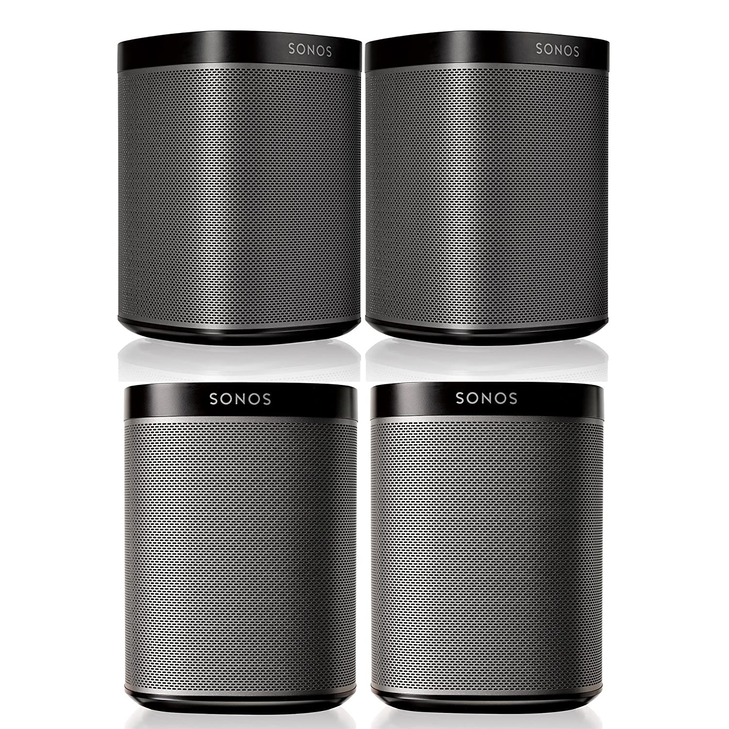 Sonos Play1 Multi Room Digital Music System Bundle 4 Whole Home Audio Speakers Black Theater